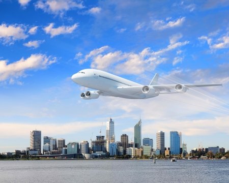 airliner: Large passenger airplane flying in the sky