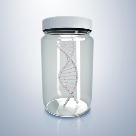 White DNA strand inside a glass jar Stock Photo - 15220956