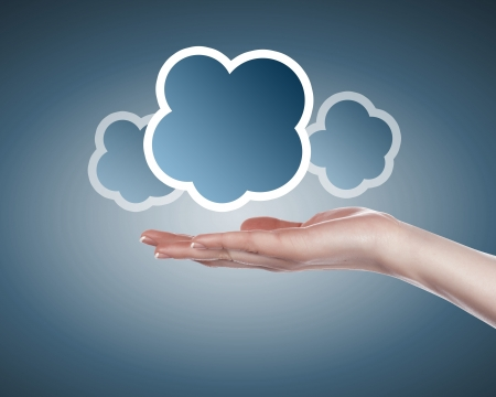 Hand with cloud computing symbol against colour background Stock Photo - 15496533