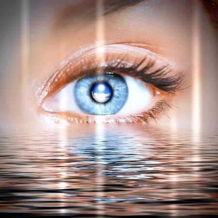 overseen: Conceptual illustration of eye overlooking water scenic
