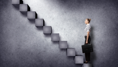 corporate ladder: Image of confident business preson with awaiting career growth