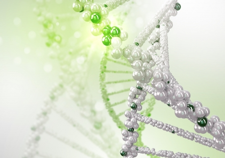 constructed: Digital illustration of dna structure on colour background