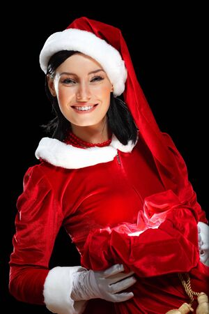 Santa Girl presenting your product, in costume and white gloves Stock Photo - 15464289