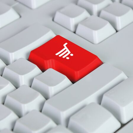 The button for purchases on the keyboard  Online shop  photo