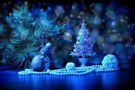 merrychristmas: Blue Christmas collage  Decorations and ribbons on a blue background