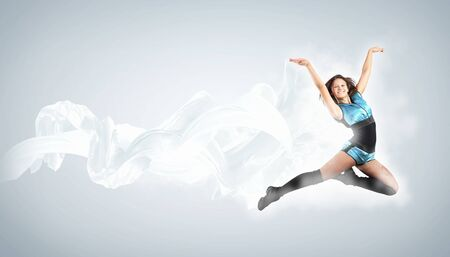 Young woman dancer illustration  With lights effect Stock Illustration - 15539162