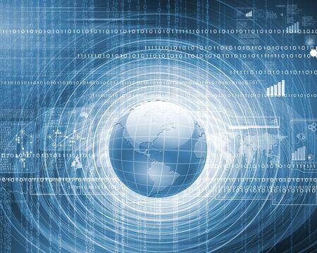 computer generation: Blue globe on the digital technology background
