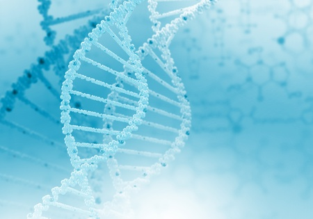 Digital illustration of dna structure on colour background Stock Illustration - 15539311