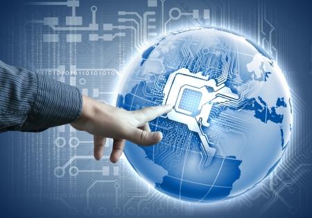 tecnología táctil futuro botón inerface ilustración en color azul Foto de archivo