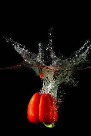 Colored red paprika in water splashes on black background Stock Photo - 15539357