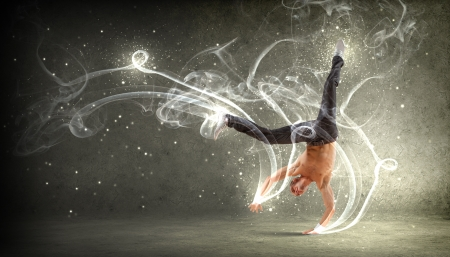 hip hop dancer: Modern style male dancer jumping and posing  Illustration Stock Photo