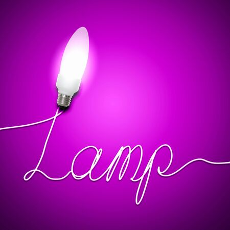 Illustration of an electric light bulb with a word Lamp  Conceptual illustration illustration