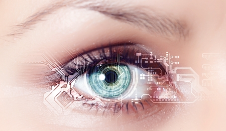 Eye viewing digital information represented by circles and signs Stock Photo - 15539383