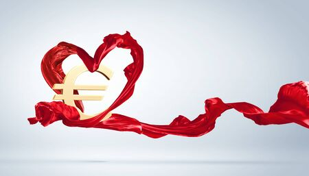 Young woman dancing with red fabric in studio and heart symbol Stock Photo - 15539224