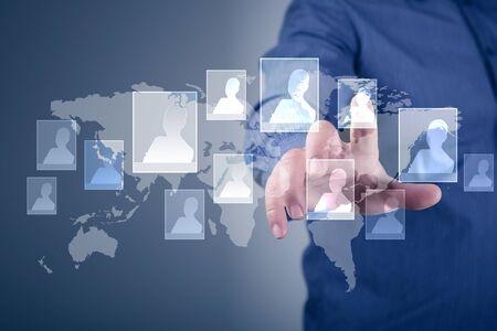 Modern Business World, A businessman navigating virtual world map Stock Photo - 15539563