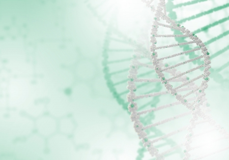 dna background: Digital illustration of dna structure on colour background