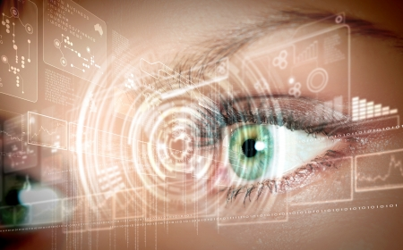 Eye viewing digital information represented by circles and signs Stock Photo - 15537269