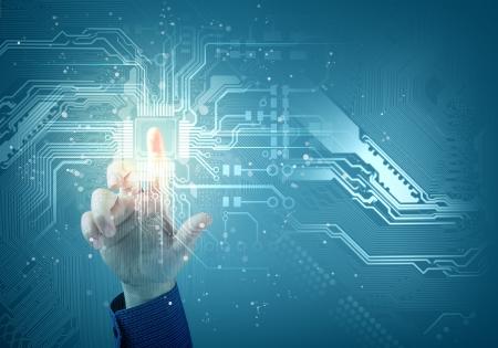 �cran tactile: l'avenir de la technologie tactile inerface bouton illustration sur fond bleu Banque d'images