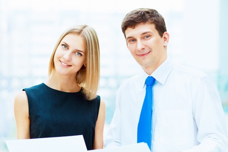 Two young business collegue working together in office Stock Photo