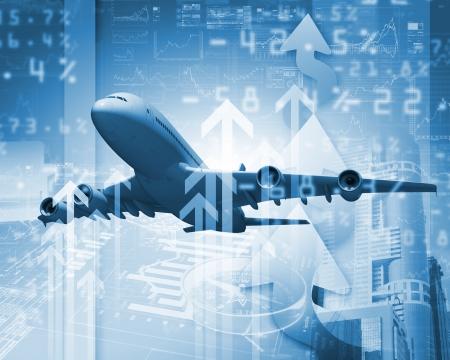 Afbeelding van een vliegtuig tegen zakelijke achtergrond Stockfoto