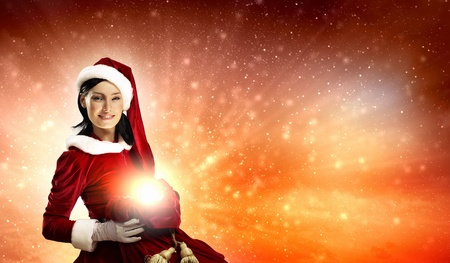 Christmas illlustration of beautiful girl in santa costume photo