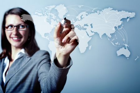 Modern Business World, A businessman navigating virtual world map Stock Photo - 15597894
