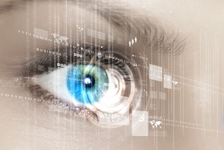 future vision: Eye viewing digital information represented by circles and signs
