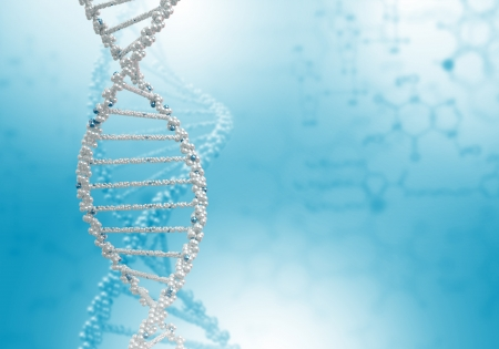 Digital illustration of dna structure on colour background illustration