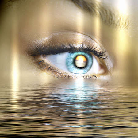 compact disc: Conceptual illustration of eye overlooking water scenic