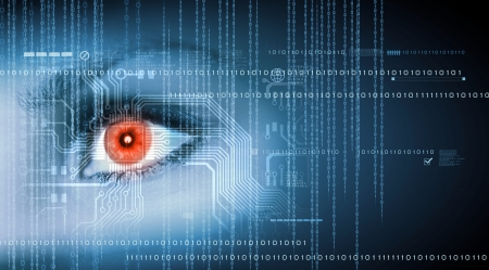 computer security: Eye viewing digital information represented by ones and zeros