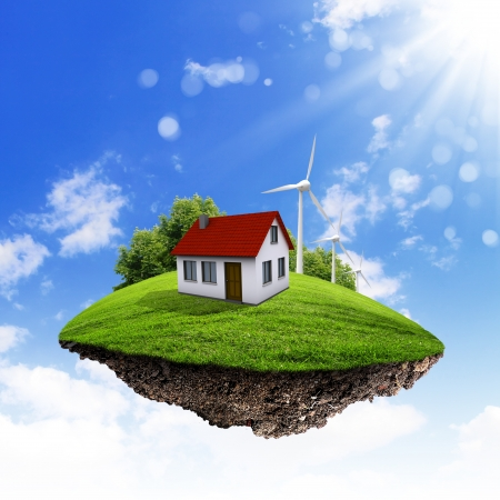 Little fine island   planet  A piece of land in the air  Lawn with house and tree  Pathway in the grass  Detailed ground in the base  Concept of success and happiness, idyllic ecological lifestyle photo