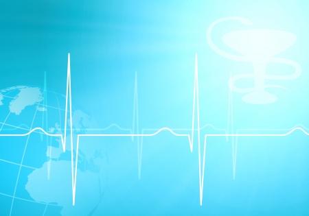 elettrocardiogramma: Immagine del battito cardiaco contro il colore di sfondo Archivio Fotografico