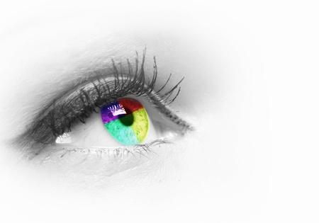 눈알: 회색 배경에 인간의 눈의 사진