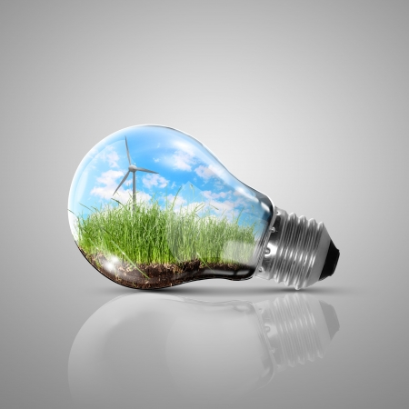 environmental issues: Ecoloy illustration Lamp bulb with clean nature and renewable energy symbol inside Stock Photo