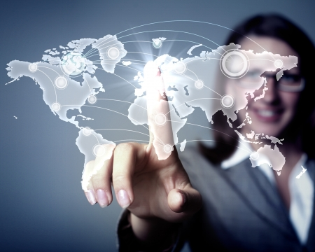 Modern Business World, A businessman navigating virtual world map photo