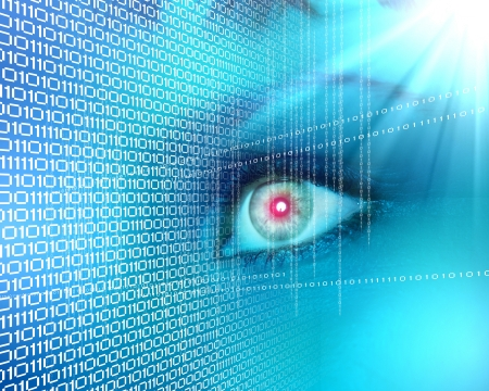 ones: Eye viewing digital information represented by ones and zeros