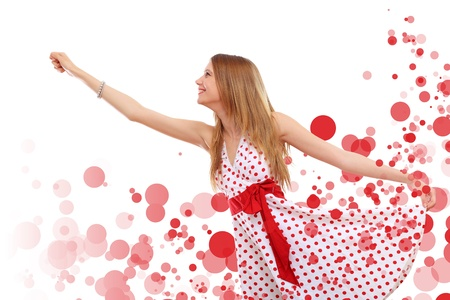 Young blond woman in red dress with red circles around Stock Photo - 15715027