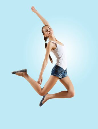 Modern style female dancer jumping and posing  Illustration illustration