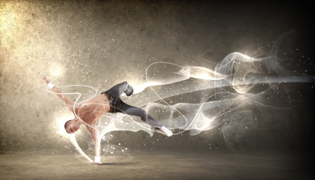 Moderne stijl mannelijke danser springen en poseren Illustratie Stockfoto