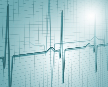 A medical background with a heart beat   pulse with a heart rate monitor symbol Stock Photo - 15628933