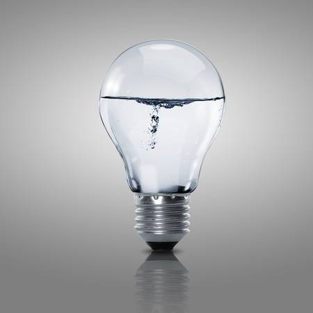 Electric light bulb with clean water inside it Stock Photo - 15664549