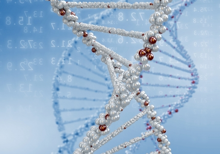Digital illustration of dna structure on colour background Stock Illustration - 15664580