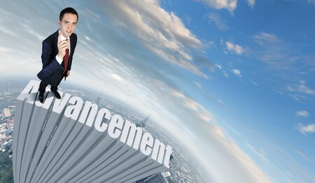 vision problems: Businessman in suit standing on the word Advancement