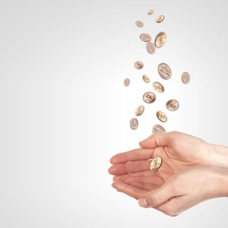 Human hand holding money on white background photo