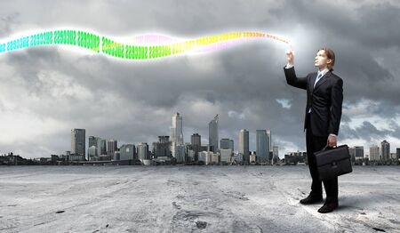 forex: Business concepts the colourful light splashes at your fingertips
