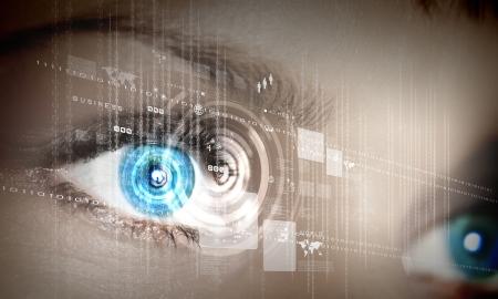 tecnologia: Eye visualizar informações digitais representados por círculos e sinais
