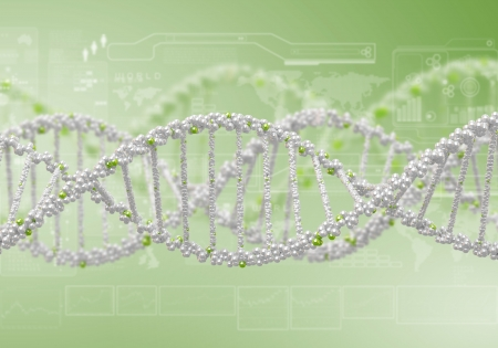 dna strand: Image of DNA strand against colour background