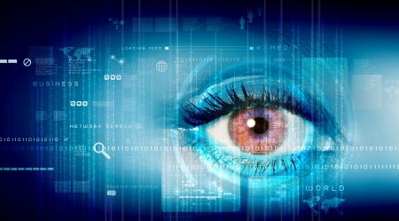 Eye viewing digital information represented by ones and zeros photo