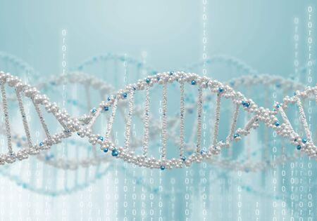 genetica: Illustrazione digitale della struttura del DNA sullo sfondo di colore Archivio Fotografico