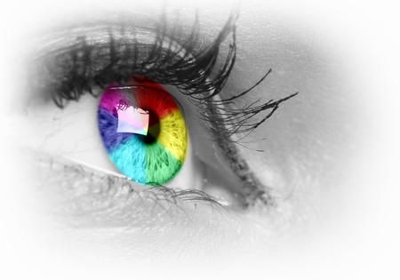 futuristic eye: Photo of the human eye against grey background Stock Photo